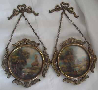 2 Antique French Brass Ormolu Wall Painting Bow Knot Convex Glass