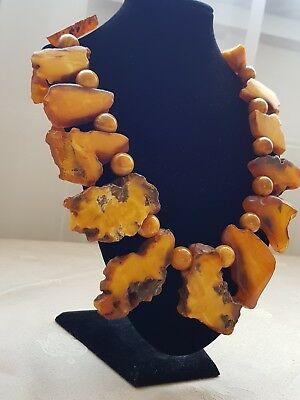 Antique Natural Baltic Butterscotch Egg Yolk Amber Bead Necklace-167-Grams UNIT