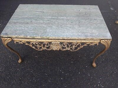 Unique vintage solid brass table with marble top