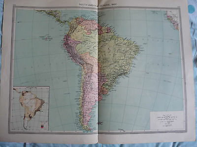 1900/1908 antique map SOUTH AMERICA Harmsworth Universal