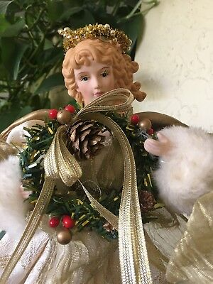 """Christmas Tree Angel Topper (15.5"""") With Porcelain Head and Hands"""