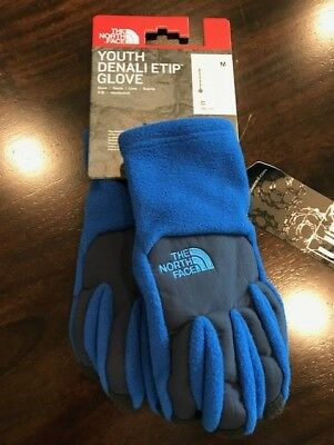 The North Face Youth Boys Denali Etip Gloves Honor Blue NWT