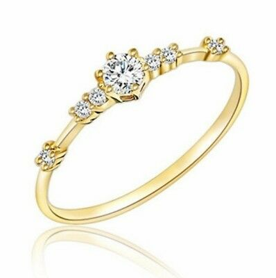 Delicate 18K Yellow Gold Plated White Topaz Women Wedding Ring Jewelry Size 6-10