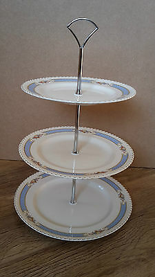 Johnson Brothers Bros cream & blue 3 Tier Cake Plate Stand Vintage New Fittings