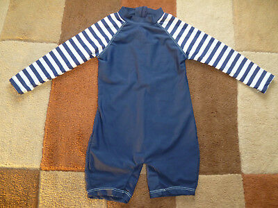 Baby's (12-18 mths) Blue Body Striped Sleeves Surf, Water Suit by Rebel (VGC)