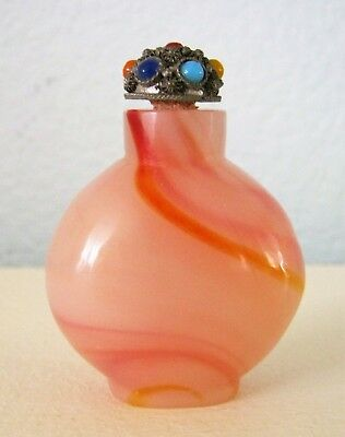 "Glass/Agate? Chinese Snuff Bottle w/ ""Jeweled"" Top Spoon"