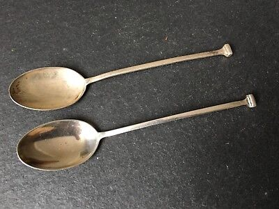 Pair Of Antique Solid Sterling Silver Art Deco Teaspoons Coffee Spoons 1922 M&W