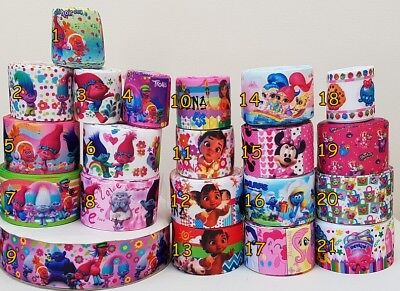 "1 2 3 METRE METRES GIRLS PRINCESS MOANA 1/"" GROSGRAIN RIBBON 25MM"