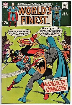 """World's Finest # 185 KEY VG+ Silver Age Comic  """"LAST 12c ISSUE"""""""