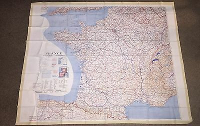 Vintage US Government Issued Cloth Map France Spain 1953 Restricted