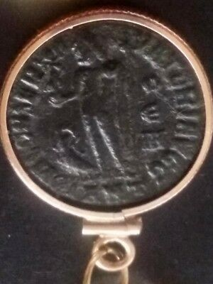 Constantine Great Genuine Ancient Roman Coin Gold-Filled Sterling Silver Pendant