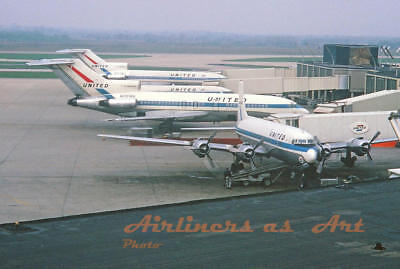 United Airlines Douglas DC-6, 727, Caravelle at ORD in May 1966 8x12 Color Print