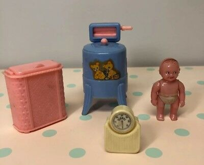 Vintage 1950's Renewal 4 Pieces Baby, Wringer Washer, Hamper, And Scale