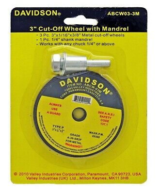 "DAVIDSON 3"" inch Cutoff Wheel Discs Set with MandrelL Arbor Adapter Metal Tool"