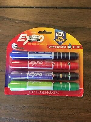 2 EXPO Dry Erase Markers w/ Ink Indicator Assorted Colors 4pk Teacher Supplies