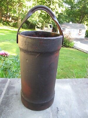 "ANTIQUE LEATHER FIRE BUCKET 20.5"" H overall, 8.5"" Diameter"