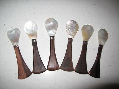 Set Of 6 Mid Century Modern Caviar Spoons Mother Pearl Teak Or Rosewood