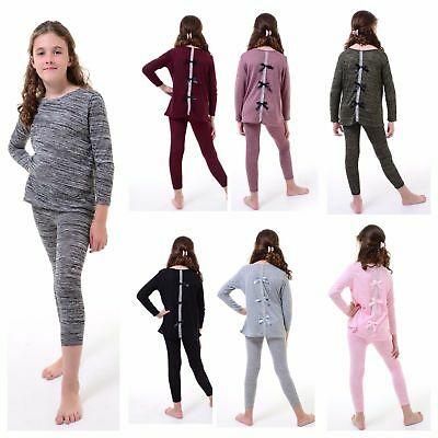 New Kids Girls Bow Diamante Tracksuit Two Piece Marl Knit Lounge Wear Set 2-13