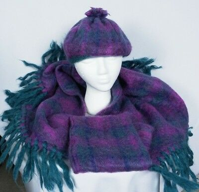 VTG Donegal Design Mohair Wool Plaid Hat & Fringed Cape Purple Green Gorgeous!