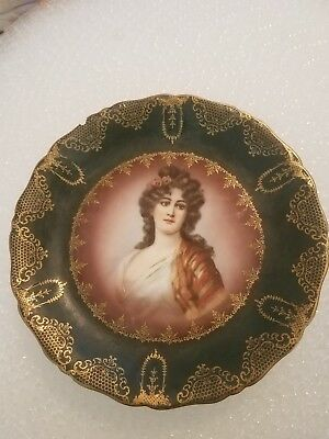 Antique Prussia Crown B Portrait Cabinet Plate Green with Gilding