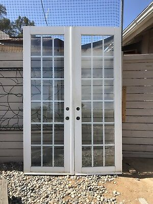 18 lite Double Pane Glass French white wood french doors. 94 x 30 wide each.