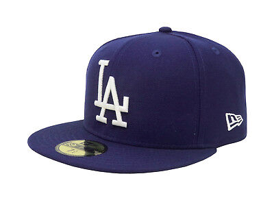New Era 59Fifty Hat Mens MLB Los Angeles Dodgers Coop Dark Royal Fitted 5950 Cap
