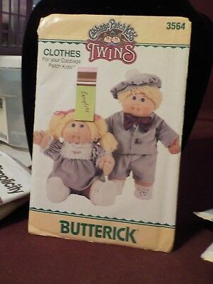 Vintage 1985 Butterick Twins Cabbage Patch Kids Doll Clothes Pattern #3564