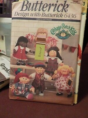 Vintage 1992 Butterick Cabbage Patch Kids Doll Clothes Pattern #6436