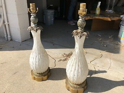 Gorgeous Pair of LARGE Vintage MURANO Glass Lamps! With Bronze!