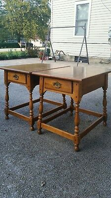 Set Of 2 Vintage Ethan Allen Solid Oak End Tables Night Stands Brass Mid Century