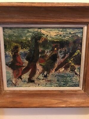vintage abstract expressionist oil painting of figures skating signed