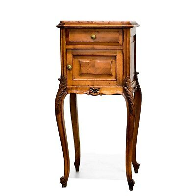 Antique French Louis XV Style Marble Top Night Stand Nightstand