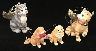 Angel Kitty Cats Christmas Tree Ornaments And 2 Kittens