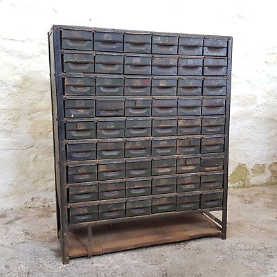 Vintage Industrial Green Steel Chest Bank of Drawers x52 (Retro Workshop)