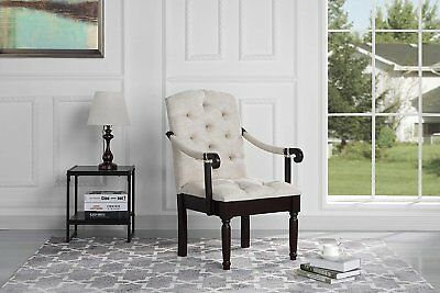Victorian Tufted Fabric Upholstered Accent Dining Chair, Beige