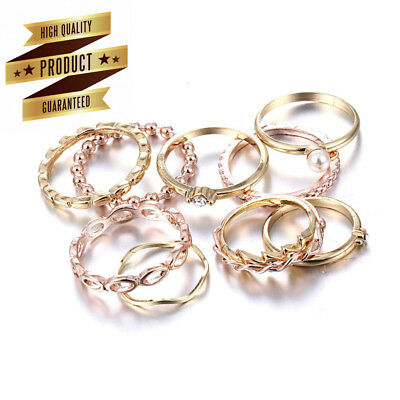 Rinhoo Bohemian Vintage Women Crystal Joint Knuckle Nail Ring Set of 10pcs...