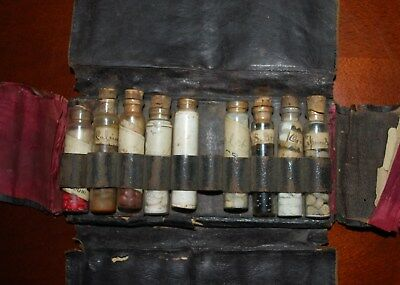 Antique Pharmacy Medicine Leather Medical Pouch With Nine Corked Vials