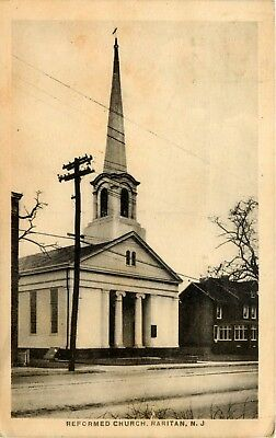 1936 New Jersey Photo Postcard: View Of Reformed Church, Raritan, Nj
