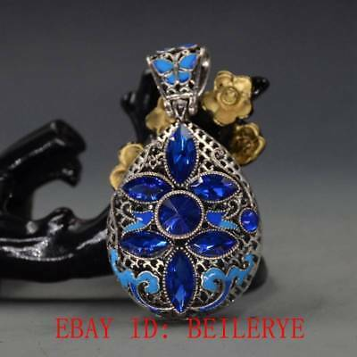 Chinese Handmade Copper Cloisonne Inlaid Zircon Pendant