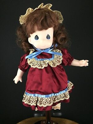 "Precious Moments Victorian Doll Red Retro Dress Headpiece 12"" Collectible"