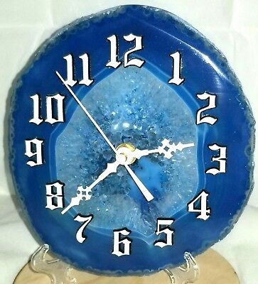 """Blue Lace Agate Desktop or Wall Mounted Clock 6""""+ Oval Quartz Operated Movement"""