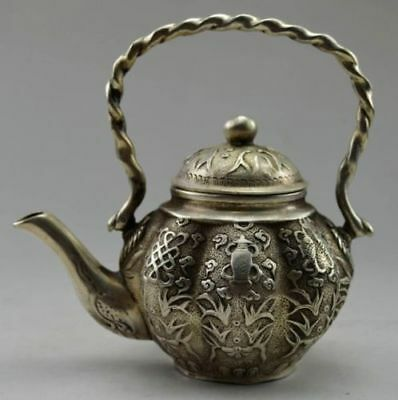 Old Chinese Handwork Tibet Silver Carved Flower Fish TeaPot