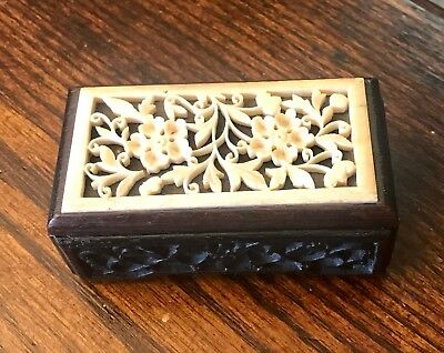 Antique Chinese Hand Carved Wood Trinket Box With White Cinnibar Floral Top