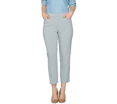 Susan Graver A288148 Ultra Stretch Dove Grey Pull-On Crop Womens Pants size 4