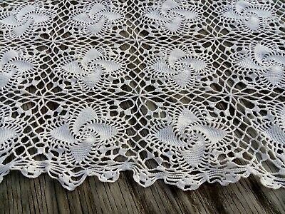 Vtg Lace Crocheted Bedspread Tablecloth 68x68 Spirals White~Lovely~