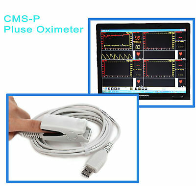 PC Based Fingertip Pulse Oximeter Oxymeter Contec CMS-P SPO2 Monitor w/ Software