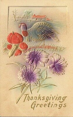 Antique Thanksgiving Postcard - Embossed Hand Painted Purple Flowers