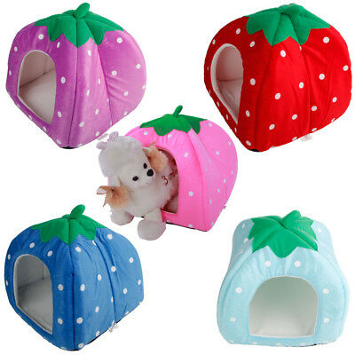 Pet Dog Cat Bed Strawberry Dog House Warm Cozy Indoor Outdoor Great Home S M L