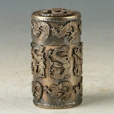 Chinese Silver Copper Hand carved Dragon Toothpick Box