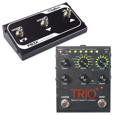 DigiTech Trio+ Plus Band Creator Looper Guitar Effects Pedal & FS3X Footswitch